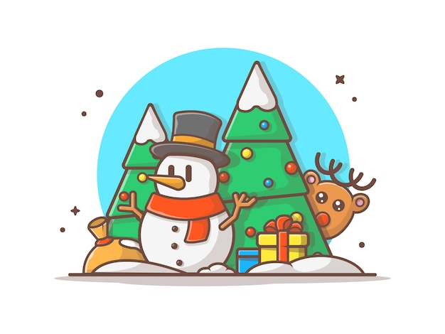Gelukkig nieuwjaar illustratie. sneeuwpop in het winterseizoen, vakantie en nieuwjaar pictogram concep