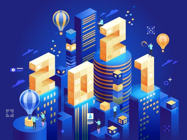 Gelukkig nieuwjaar in futuristische zakenstad in isometrische weergave. abstracte moderne wolkenkrabbers, werknemers werken in het centrum. karakter illustratie van metafoor succesvol bedrijfsconcept