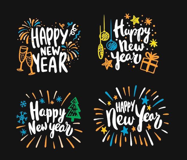Gelukkig nieuwjaar kalligrafische belettering tekst ontwerp kaarten set.