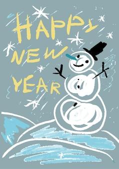 Gelukkig nieuwjaar! kleurpotlood als kinderen getekende kleurrijke kaart met handtekening sneeuwpop en handgeschreven tekst. kinderlijke handgetekende vectorillustratie.