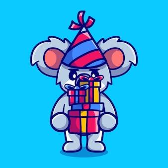 Gelukkig nieuwjaar koala brengt een stapel geschenken