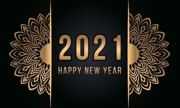 Gelukkig nieuwjaar luxe mandala achtergrondontwerp