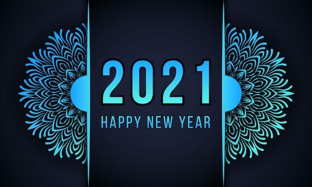 Gelukkig nieuwjaar mandala achtergrondontwerp