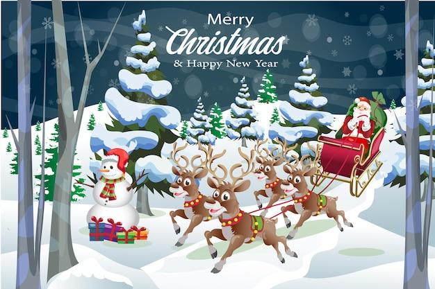 Gelukkig nieuwjaar merry christmas cartoon groet sneeuwpop met rendieren en kerstman