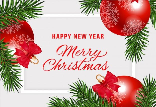 Gelukkig nieuwjaar merry christmas met kerstballen