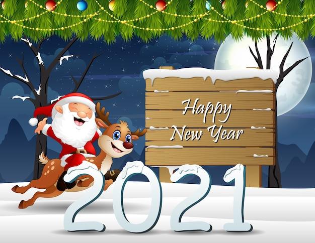 Gelukkig nieuwjaar met de kerstman die op een hert rijdt