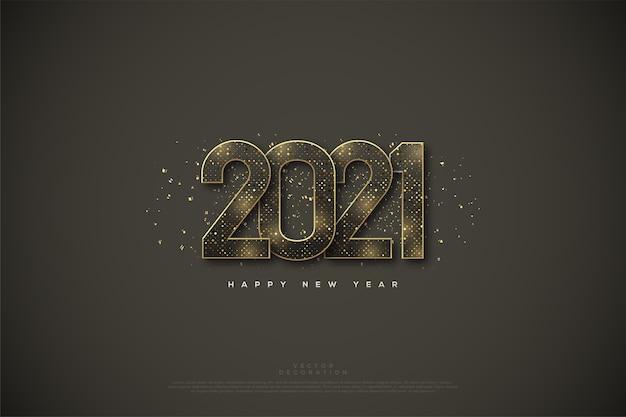 Gelukkig nieuwjaar met een gouden halftoonkleur.