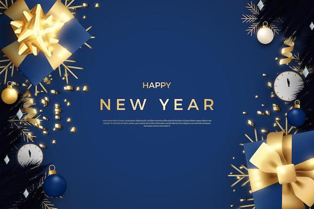 Gelukkig nieuwjaar met een realistische en zoete strooi glitter