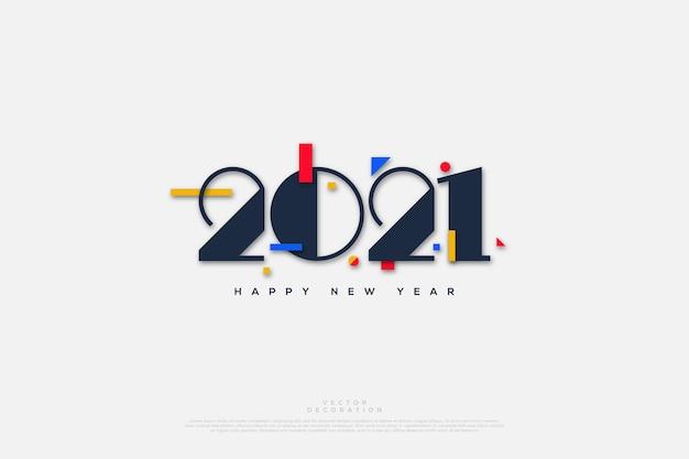 Gelukkig nieuwjaar met eenvoudige cijfers en kleurrijke papieruitsparingen.