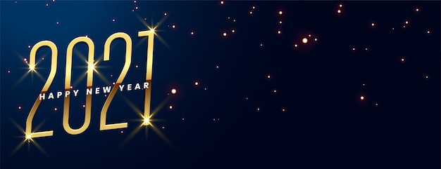 Gelukkig nieuwjaar met gloeiende gouden gloed op blauw