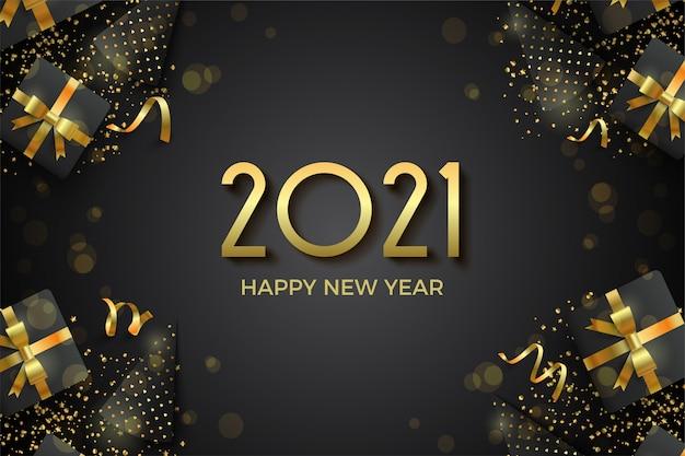 Gelukkig nieuwjaar met gouden cijfers en illustratie van geschenkdozen en verjaardagshoeden.