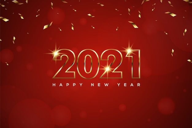 Gelukkig nieuwjaar met gouden getextureerde cijfers en bokeh