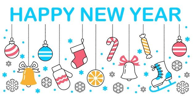 Gelukkig nieuwjaar met hangende ornamenten