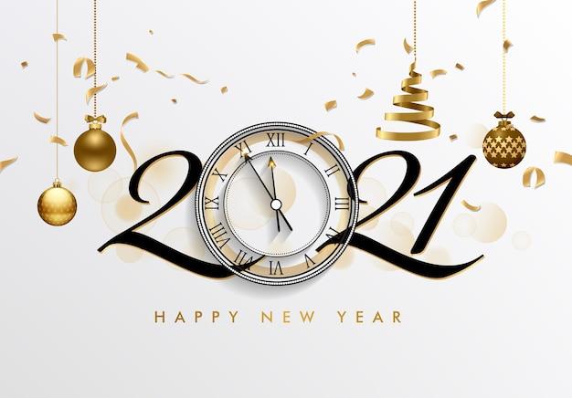 Gelukkig nieuwjaar met klok en feestelijke elementen