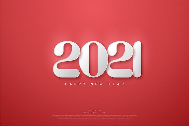 Gelukkig nieuwjaar met witte afgeronde cijfers op een rode achtergrond.