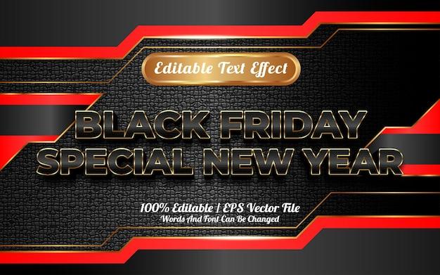 Gelukkig nieuwjaar met zwarte vrijdag bewerkbare teksteffect sjabloonstijl
