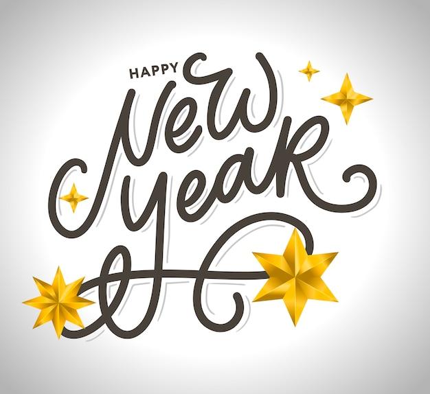 Gelukkig nieuwjaar. mooie wenskaart poster met kalligrafie zwarte tekst woord gouden vuurwerk. hand getekende elementen.