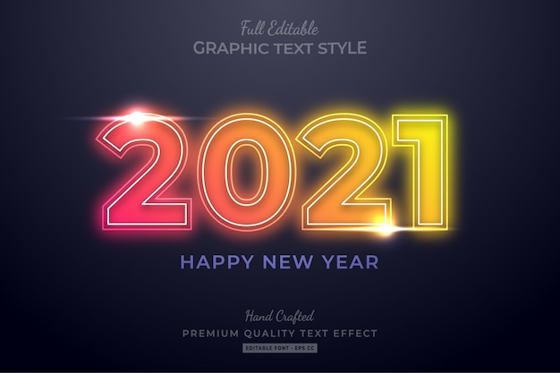 Gelukkig nieuwjaar neon bewerkbare teksteffect lettertypestijl
