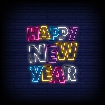 Gelukkig nieuwjaar neonreclames stijltekst