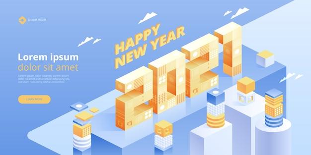 Gelukkig nieuwjaar. nieuwe innovatieve ideeën. digitale technologieën. isometrische technologie voor posters en banners voor nieuwjaarsvakanties. illustratie met trendy geometrische elementen