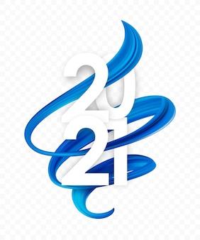 Gelukkig nieuwjaar. nummer 2021 met blauwe abstracte gedraaide penseelstreekvorm. trendy ontwerp