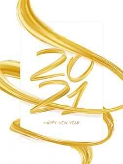 Gelukkig nieuwjaar. nummer 2021 met goudkleurige abstracte gedraaide penseelstreekvorm. trendy ontwerp