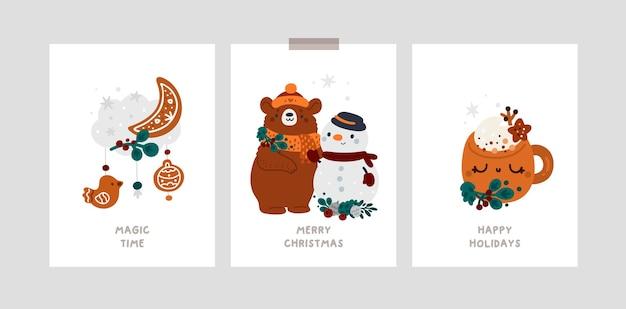 Gelukkig nieuwjaar of merry christmas feestelijke wenskaarten met schattige stripfiguren