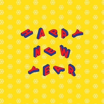 Gelukkig nieuwjaar ontwerp lay-out in trendy isometrische stijl op gele achtergrond met sneeuwvlokken-patroon.