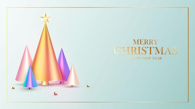 Gelukkig nieuwjaar. ontwerp van de achtergrond van kerstmis, fir tree, decoratieve ballen. feestelijke geschenkenkaart.