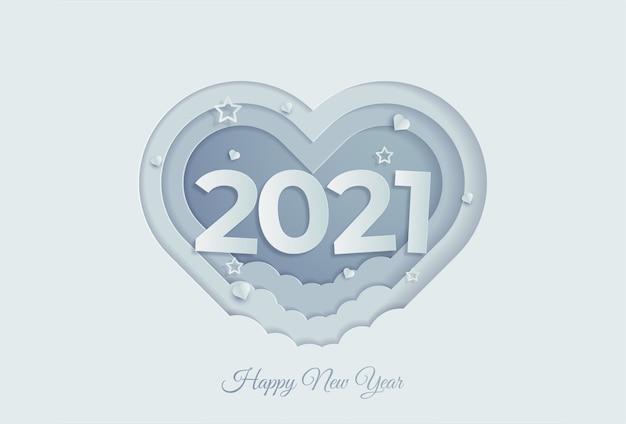 Gelukkig nieuwjaar op liefdeachtergrond