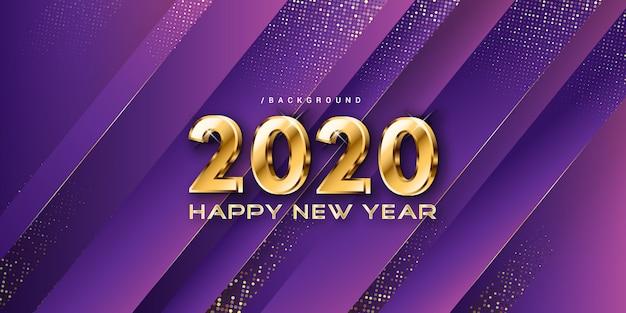 Gelukkig nieuwjaar paarse luxe gouden achtergrond
