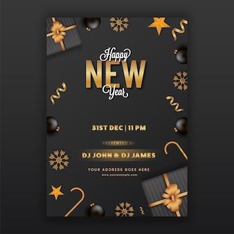 Gelukkig nieuwjaar partij flyer of sjabloonontwerp in zwarte en gouden kleur