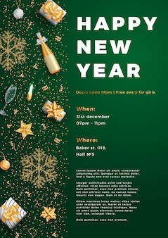 Gelukkig nieuwjaar partij lay-out poster poster of folder sjabloon.