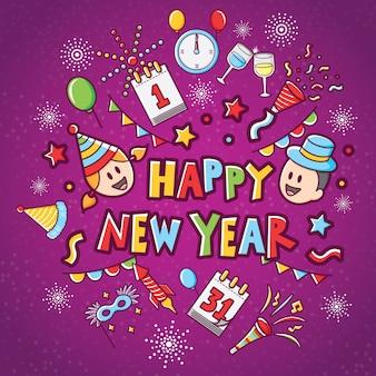 Gelukkig nieuwjaar pictogrammenset met paarse achtergrond
