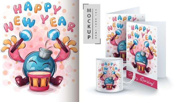 Gelukkig nieuwjaar poster en merchandising