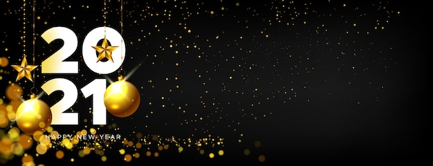 Gelukkig nieuwjaar realistische banner met gouden decoratie
