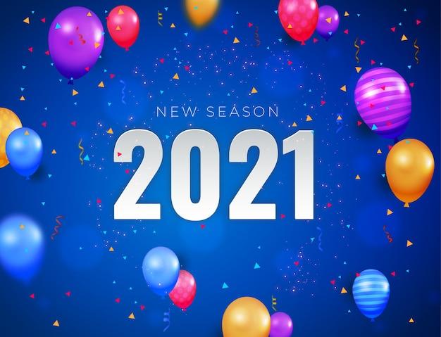 Gelukkig nieuwjaar realistische banner met kleurrijke decoratie