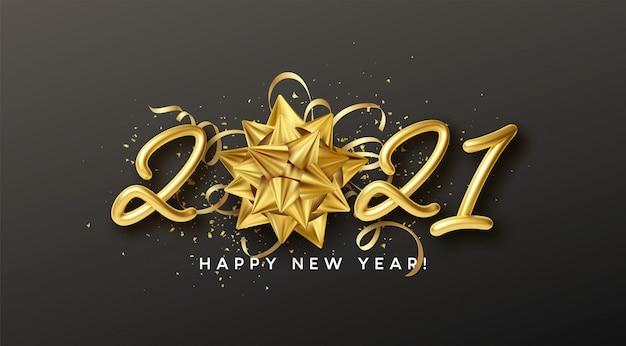 Gelukkig nieuwjaar realistische gouden inscriptie met cadeau gouden boog en gouden klatergoud op een zwarte achtergrond.