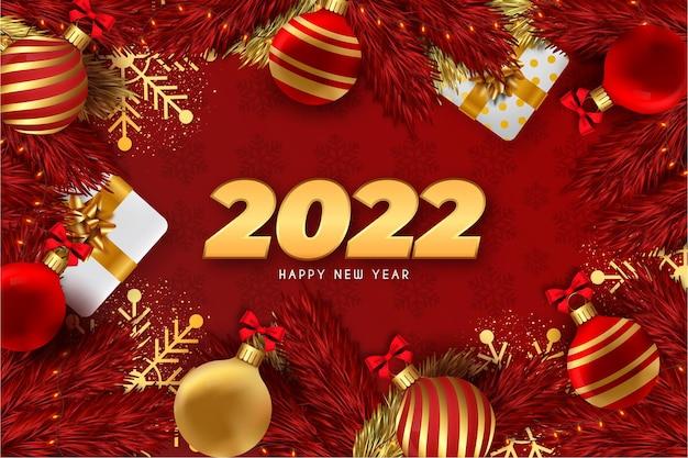 Gelukkig nieuwjaar rode achtergrond met realistische kerstversiering