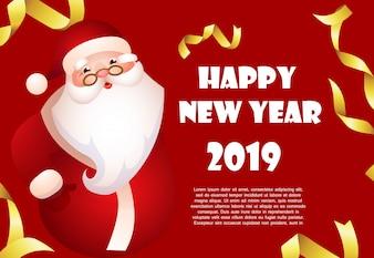 Gelukkig Nieuwjaar rode spandoekontwerp met cartoon Santa Claus