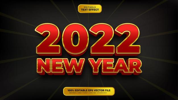 Gelukkig nieuwjaar rood goud 3d bewerkbaar teksteffect