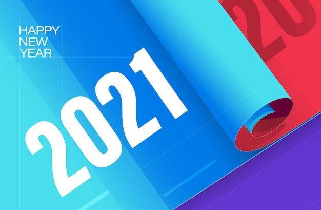 Gelukkig nieuwjaar sjabloon achtergrond nieuwjaar poster met rode blauwe kleuren