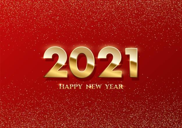 Gelukkig nieuwjaar sjabloon, goud schijnt in het licht met sparkles feest flyer.