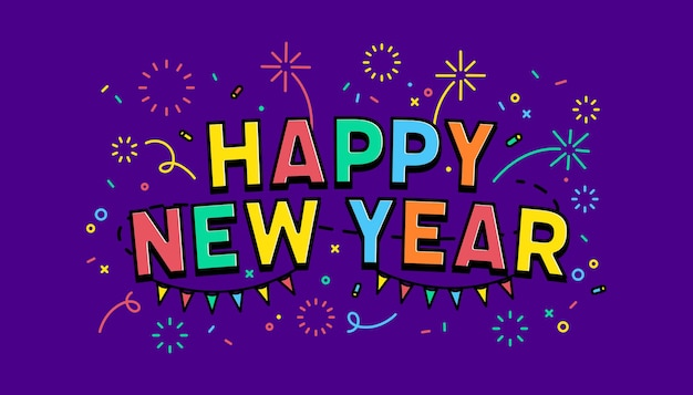 Gelukkig nieuwjaar sjabloon voor spandoek. reclameontwerp voor sociale netwerkvector.