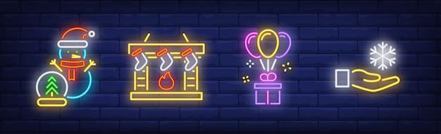 Gelukkig nieuwjaar symbolen in neon stijl