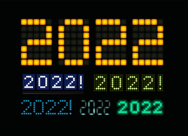 Gelukkig nieuwjaar tekst led licht ontwerp set gloeiende cijfers op digitaal scherm elektrisch display