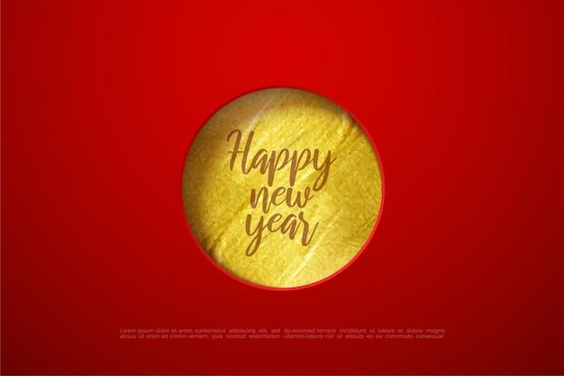 Gelukkig nieuwjaar tekst met cirkel goud papier.