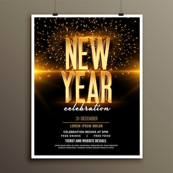 Gelukkig nieuwjaar uitnodiging flyer of poster sjabloon