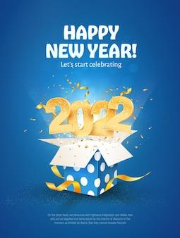 Gelukkig nieuwjaar vector illustratie xmas vieren op blauwe achtergrond vrolijk kerstfeest