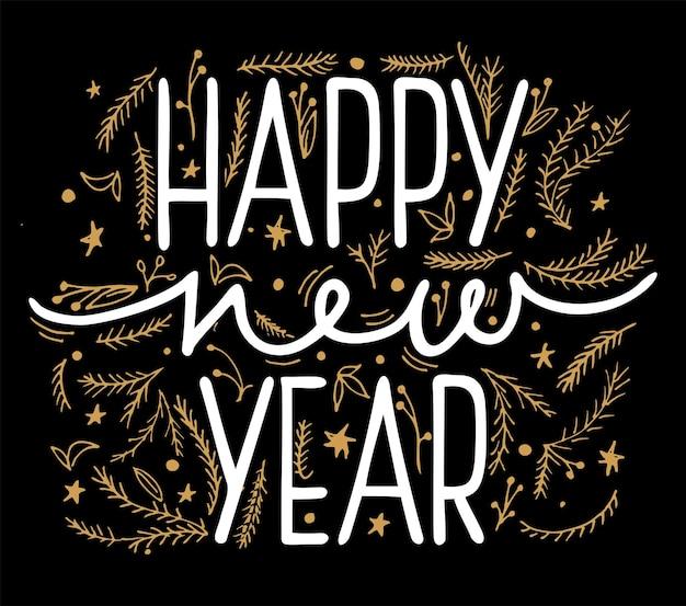 Gelukkig nieuwjaar vectorillustratie voor banner flyer en wenskaart witte belettering inscriptie